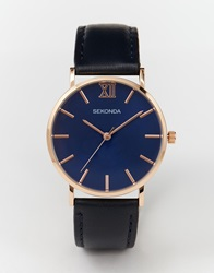 Sekonda Rose Gold Detail Navy Leather Strap Watch
