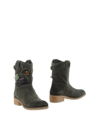 Manila Grace Denim Ankle Boots Military Green