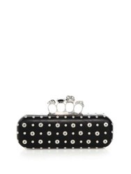 Alexander Mcqueen Studded Leather Knuckle Long Box Clutch Black
