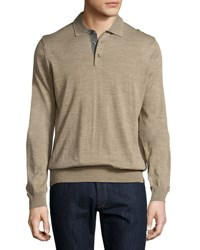 Toscano Long Sleeve Wool Blend Polo Shirt Cobbleston