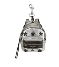 Saint Laurent Mini Metallic Backpack Keyring Unisex Black