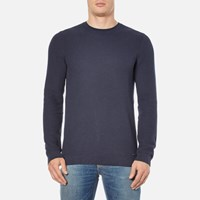 Hugo Men's Sorito Textured Crew Neck Knitted Jumper Navy