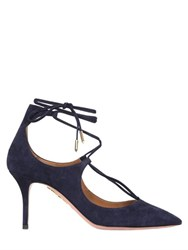 Aquazzura 75Mm Christy Lace Up Suede Pumps