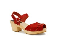 Swedish Hasbeens Peep Toe High Sandals Red