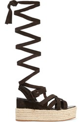 Miu Miu Suede Espadrille Platform Sandals Dark Brown