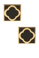 Ariella Collection Square Spade Stud Earrings Black