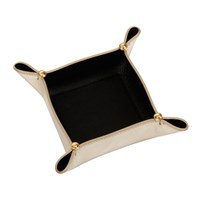 Versace Leather Tray Bowl Gold Black Small