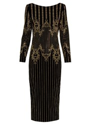 Balmain Stud Embellished Velvet Midi Dress Black Multi