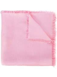 Fendi Jacquard Logo Scarf Pink And Purple