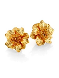 Kenneth Jay Lane Anemone Flower Clip On Button Earrings Gold