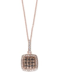 Effy Collection Espresso By Effy Diamond Cluster Pendant Necklace 5 8 Ct. T.W. In 14K Rose Gold