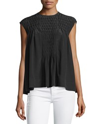 See By Chloe Pleated Sleeveless Flowy Blouse Black