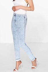 Boohoo High Rise Acid Wash Knee Slits Skinny Jeans Blue