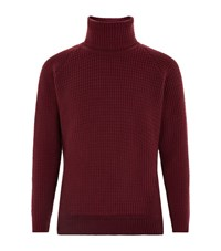 John Smedley Textured Chunky Roll Neck Wool Sweater Male