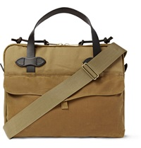 Filson Leather Trimmed Coated Canvas Briefcase Brown