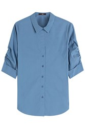 Steffen Schraut Gathered Sleeve Shirt Blue