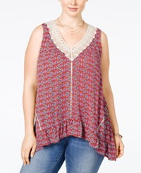Eyeshadow Plus Size Embroidered Handkerchief Hem Top Terra Cotta