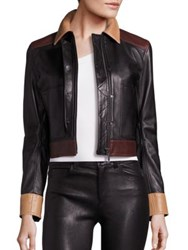 Helmut Lang Colorblock Cropped Leather Jacket Black