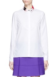 Kenzo 'Tanami Flower' Mixed Media Collar Poplin Shirt White