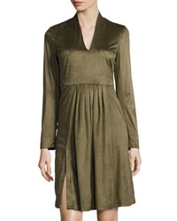 Catherine Malandrino Long Sleeve Faux Suede Fit And Flare Dress Green