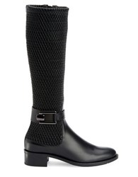 Aquatalia By Marvin K Odilia Calf Leather And Looped Stretch Mid Calf Boots Black