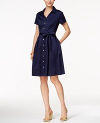 Charter Club Cap Sleeve Belted Shirtdress Only At Macy's Intrepid Blue