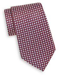 Saks Fifth Avenue Circle Print Silk Tie Red Blue