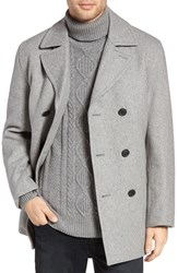 Michael Kors Men's Wool Blend Double Breasted Peacoat Stone Grey