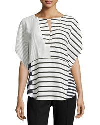 Neiman Marcus Keyhole Striped Dolman Blouse Black White