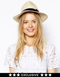 Catarzi Exclusive To Asos Straw Hat With Black Ribbon Natural