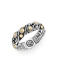 John Hardy Jaisalmer Dot Yellow Gold And Sterling Silver Twist Band Ring Silver Gold