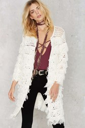 Nasty Gal Line And Dot Marie Fringe Cardigan