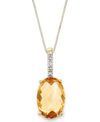 Macy's 14K Gold Necklace Citrine 3 Ct. T.W. And Diamond Accent Oval Pendant Orange