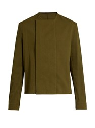Haider Ackermann Collarless Long Sleeve Shirt Khaki