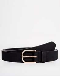 Asos Smart Belt In Faux Suede With Rose Gold Buckle Black