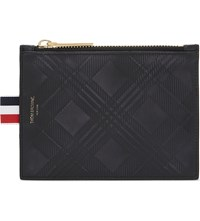 Thom Browne Distressed Tartan Leather Coin Purse Black