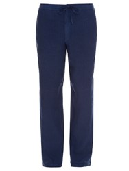 120 Lino Drawstring Straight Leg Linen Trousers Blue