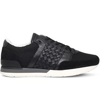 Bottega Veneta Running Woven Leather And Mesh Trainers Black