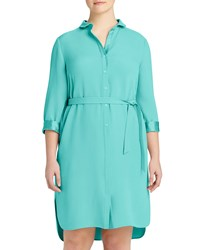 Lafayette 148 New York Plus Agner Belted Shirtdress Aquarium