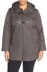 Plus Size Women's Ellen Tracy Toggle Closure Quilted A Line Coat Olive