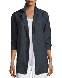 Eileen Fisher Organic Linen One Button Long Blazer Petite Women's Denim