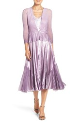 Komarov Petite Women's Charmeuse And Chiffon Midi Dress And Jacket Violet Orchid Ombre