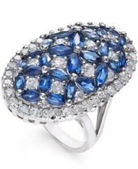 Macy's Sapphire 4 Ct. T.W. And Diamond 1 3 4 Ct. T.W. Ring In 14K White Gold Blue