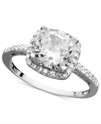 B. Brilliant Sterling Silver Ring Cubic Zirconia Cushion Cut Pave Ring 3 3 4 Ct. T.W.