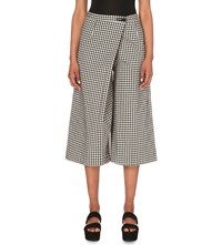 Moandco. Gingham Print Stretch Cotton Shorts Blue And White Check