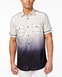Inc International Concepts Men's Hawaii Dip Dye Short Sleeve Shirt Only At Macy's Silver Stream