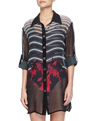 We Are Handsome The Avenger Sheer Printed Silk Coverup