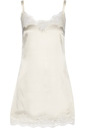 Dolce And Gabbana Lace Trimmed Stretch Silk Satin Chemise