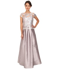 Adrianna Papell Cap Sleeve Sequin Ilusion Lace Duponi Gown Pearl Grey Women's Dress Gray