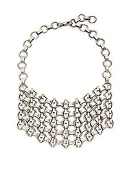 Dannijo Danner Chain Bib Necklace Silver